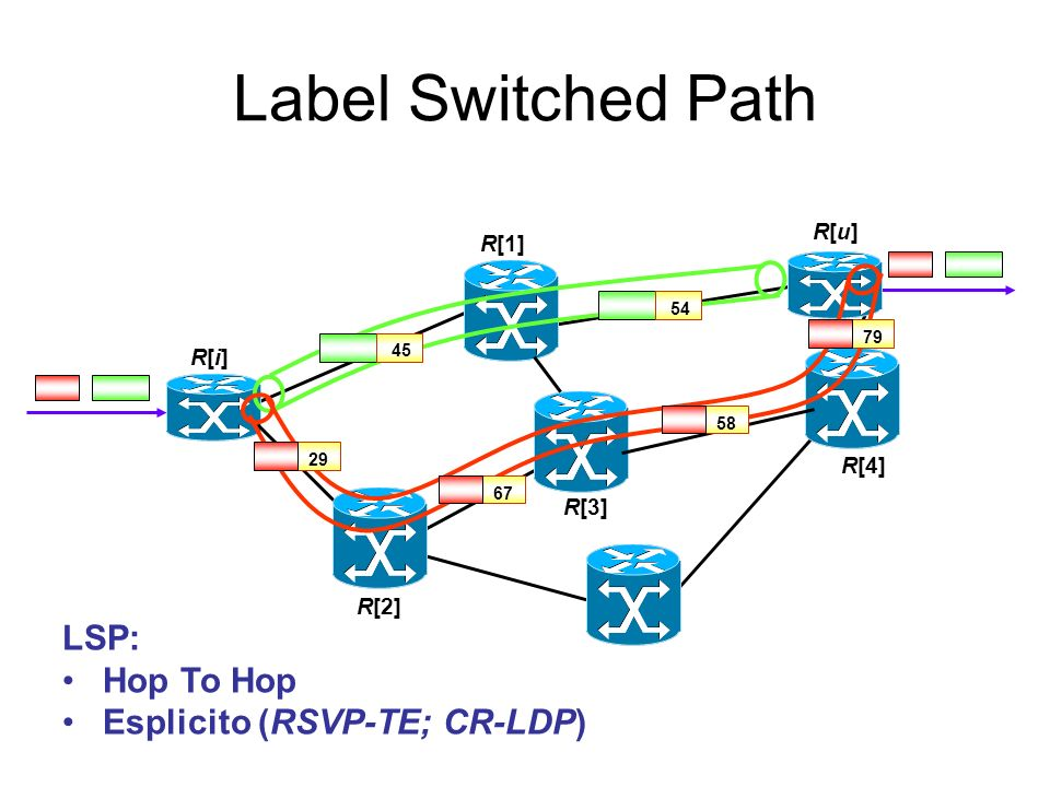 Label Switched Path LSP: Hop To Hop Esplicito (RSVP-TE; CR-LDP) R[u]